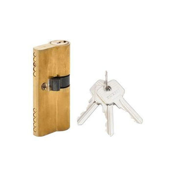 Picture of Unequal Double Cylinder Door Lock with Key, Gold & Silver