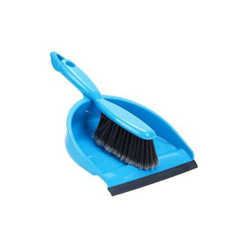 Picture of Vanessa Dustpan and Broom Set - Blue & Black