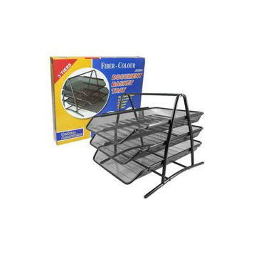 Picture of Metal 3-Tier Document Basket Tray - Black