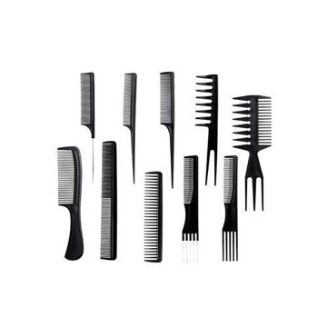 Picture of Professional Lightweight Hair Comb Set, Black - Set of 10