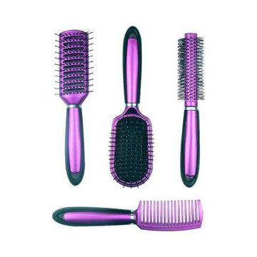 Picture of Paddle Hair Brush Set, Purple & Black - Set of 4