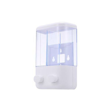 Picture of Wall Mounted Double Soap Dispenser, White & Clear - 380 ml