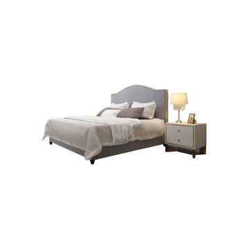 Picture of Neo Front Solid Wooden Queen Size Bed Frame, 15 m, Grey