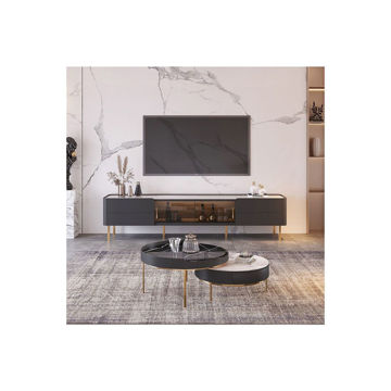 Picture of Neo Front Dull Polish Coffee Table, 2 pcs, Black & White