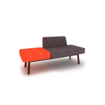 Picture of Neo Front Lounge Sofa Chair, Grey & Red