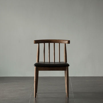 Picture of Neo Front Solid Wood Leather Dining Chair, Black