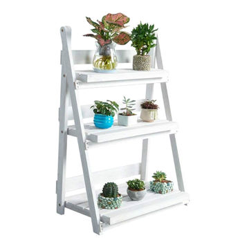 Picture of 3 Tier Folding Wooden Plant Stand, White