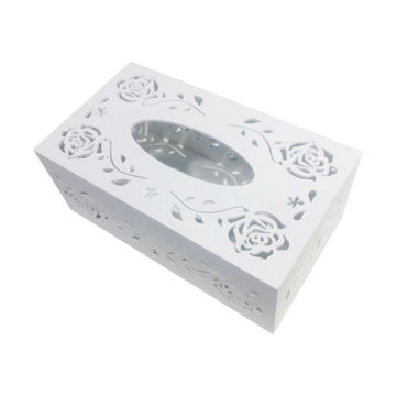 Picture of White Wood-Plastic Panel Hollow Carved Tissue Box