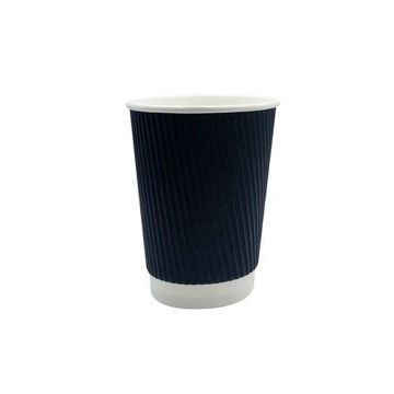 Picture of Hotpack Ripple Paper Cup, 355 ml, Black - Pack of 500