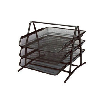 Picture of Roco 3-Tier Mesh Desk Paper Tray, Black