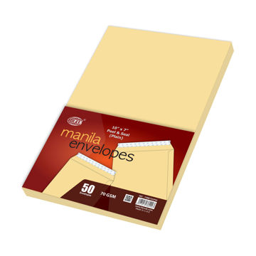 Picture of FIS Peel & Seal Plain Manila Envelopes Set Of 50, Beige, Pack of 60