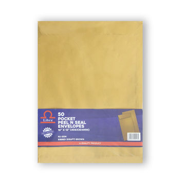 Picture of Libra A3 Pocket Ribbed Brown Envelopes, Peel & Seal, Carton of 1000 Pieces