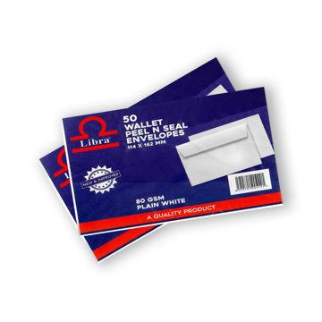 Picture of Libra White Wallet 80gsm Envelopes, Peel & Seal, Carton of 5000 Pieces