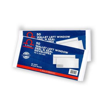 Picture of Libra White Wallet Left Window Envelopes, Peel & Seal, Carton of 5000 Pcs