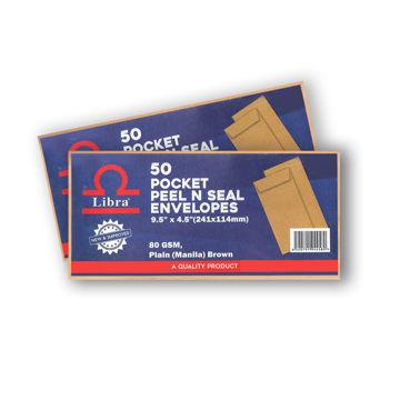 Picture of Libra Plain Brown Envelopes 9.5x4.5, 80gsm Peel & Seal, Carton of 5000 Pieces