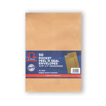 Picture of Libra A4 Ribbed Envelopes, Brown, Peel & Seal, Carton of 1000 Pieces