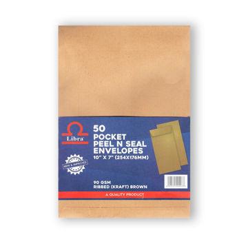 Picture of Libra A5 Pocket Ribbed Envelopes, Brown, Peel & Seal, Carton of 2000Pcs