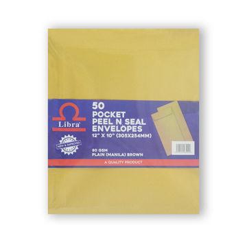 Picture of Libra A4 Envelopes, Brown, Peel & Seal, Carton of 1000 Pieces