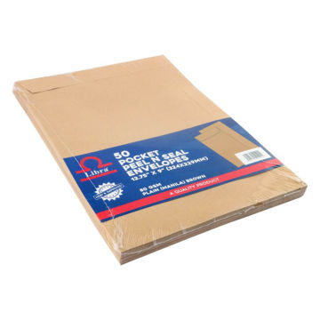 Picture of Libra A4 Plain Envelopes, Brown, Peel & Seal, Carton of 1000 Pieces