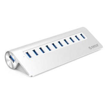Picture of Orico 10-USB 3.0 Multi Extension Power Port, M3H10-V1-EU-SV-BP, Silver, Pack of 40