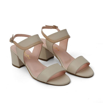 Picture of Leather Buckle-Strap Block Heel Sandals, 2Inch - Carton of 12