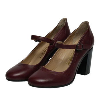 Picture of Leather Almond-Toe Buckle Strap High Heels, 3Inch - Carton of 12