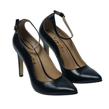 Picture of Leather Ankle-Strap Pencil Heels, 4Inch, Dark Blue - Carton of 12