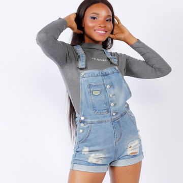 Picture of Ripped Denim Short Overall Dungaree, Blue Wash - Pack of 12