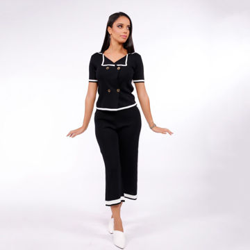 Picture of Short-Sleeve Blouse with Trousers, Black - Pack of 12
