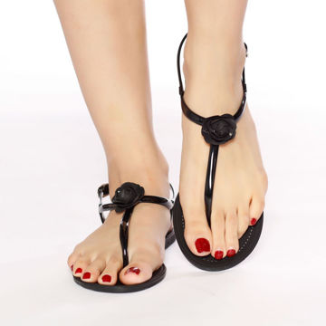 Picture of Plastic Flat Sandals with Rose - Pack of 12