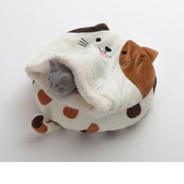 Picture of JD Cat Faced Sleeping Bed for Cat -White & Brown