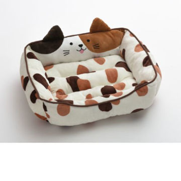 Picture of JD Cat Faced Pet Bed, White & Brown