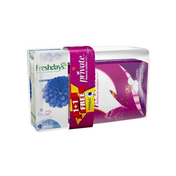 Picture of Private Maxi Pocket Sanitary Pads With Fresh Days Liners, Super - Carton Of 180 Pcs