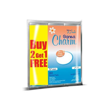 Picture of Sanita Charm 100% Cotton Pads, 2+1 Value Pack - Carton Of 8 Packs