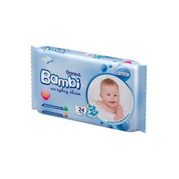 Picture of Sanita Bambi Everyday Clean Baby Wet Wipes, Medium - Carton Of 24 Packs