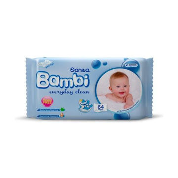 Picture of Sanita Bambi Everyday Clean Baby Wet Wipes , 64 Wipes - Carton Of 12 Packs