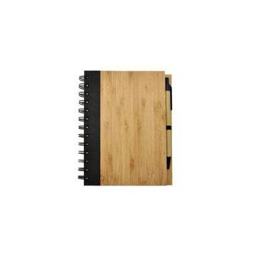 Picture of MTC Bamboo Spiral Notebook with Pen - Brown