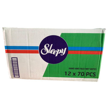 Picture of Sleepy Antibacterial & Antimicrobial Wipes, 70 Wipes - Carton Of 12 Packs