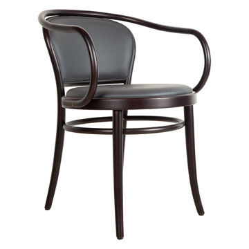 Picture of TON Solid Beech Wood Frame Armchair, Dark Wenge & Black