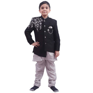 Picture of Fancy Dess Wale Indo Western Party Ocassion Dress For Boys (Grey,9-10 Years)
