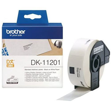 Picture of Brother Standard Address Label Roll - DK-11201, 90 mm, Black