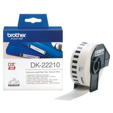 Picture of Brother Black on White Continuous Paper Label Roll - DK-22210, 29 mm