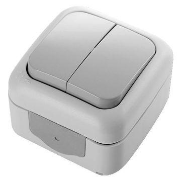 Picture of Viko by Panasonic 2-Gang 1-Way Palmiye Switch, Grey - Box of 10 Pcs