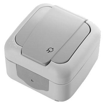 Picture of Viko by Panasonic 2-Pin + Earth Palmiye Socket, Grey - Box of 10 Pcs
